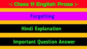 Forgetting Hindi Explanation