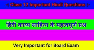 हिंदी काव्य साहित्य के महत्वपूर्ण प्रश्न