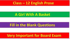 A Girl With A Basket - Important Fill in the Blank Questions