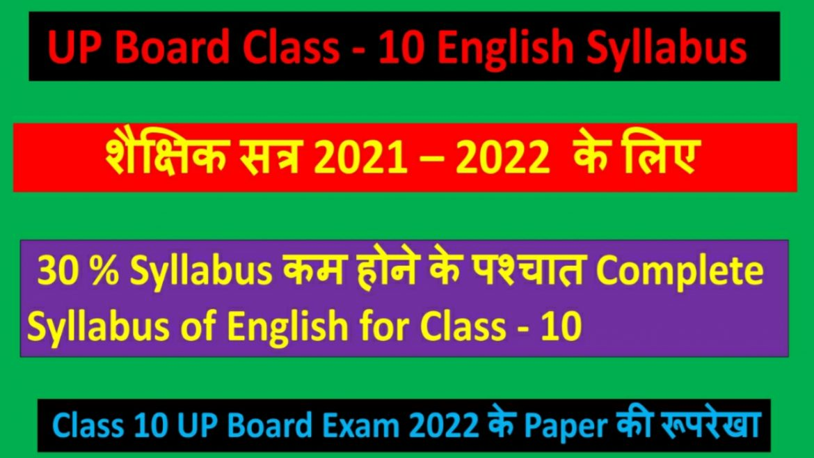 UP Board Class 10 English Syllabus for 2021 - 2022